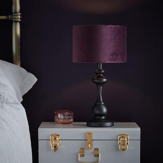Bordlampe Connor, tekstilskjerm fiolett