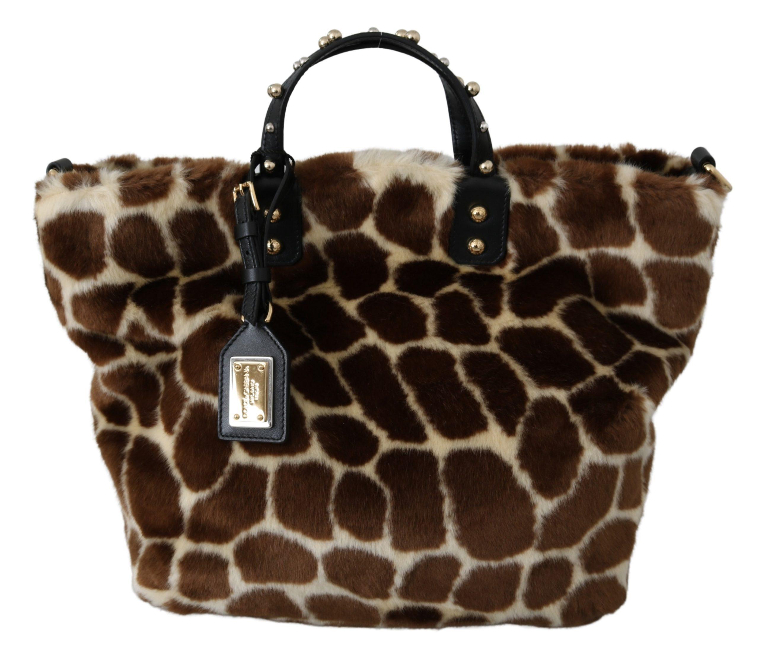 Dolce & Gabbana Women's Giraffe Print Shopping Tote Bag Brown VAS9798