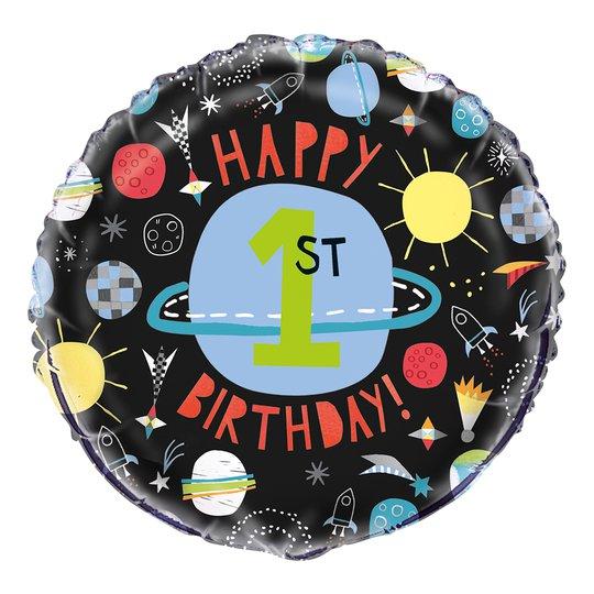 Folieballong Happy 1st Birthday Rymdraket - 1 pack
