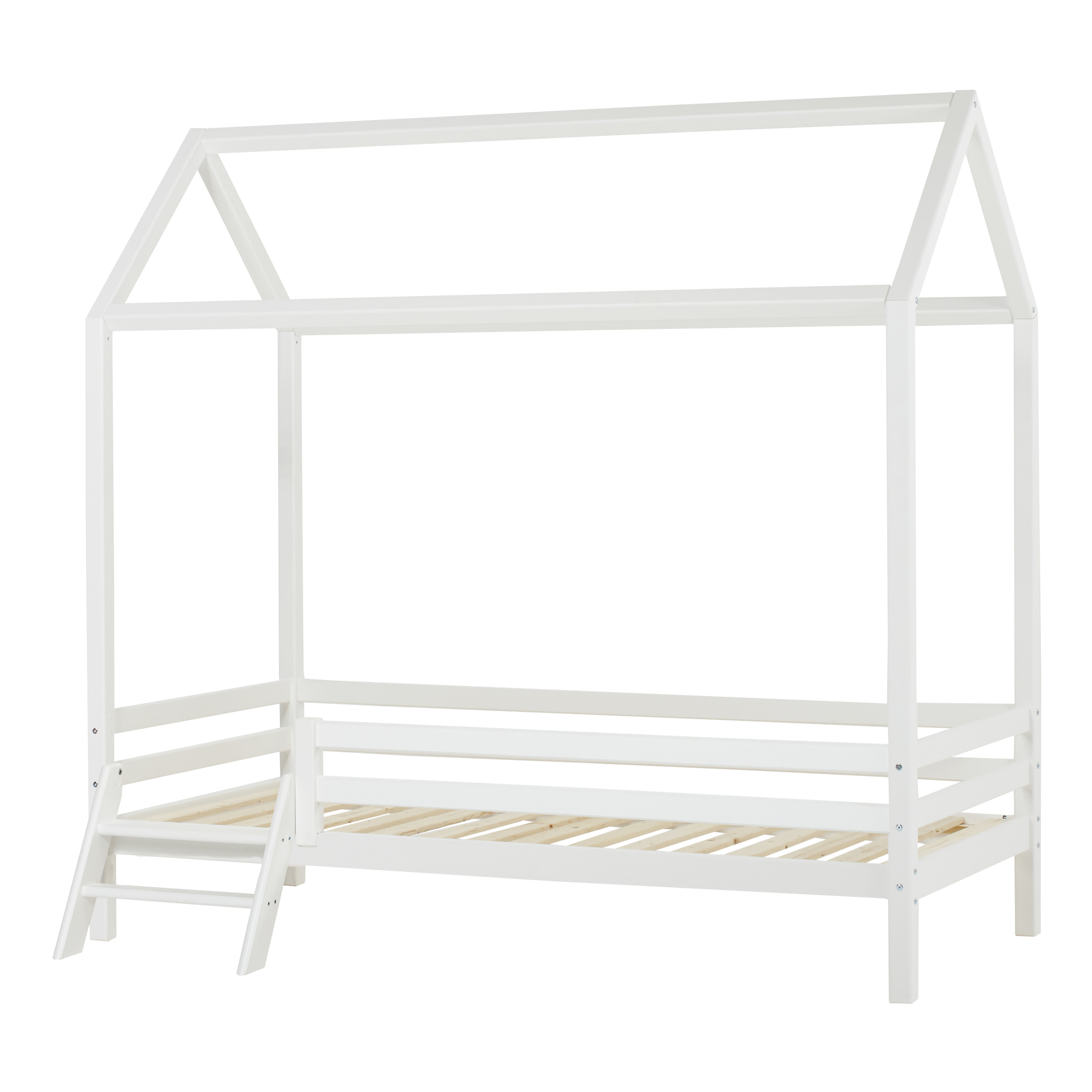 Hoppekids - BASIC House bed w. Ladder 90 x 200 cm - White