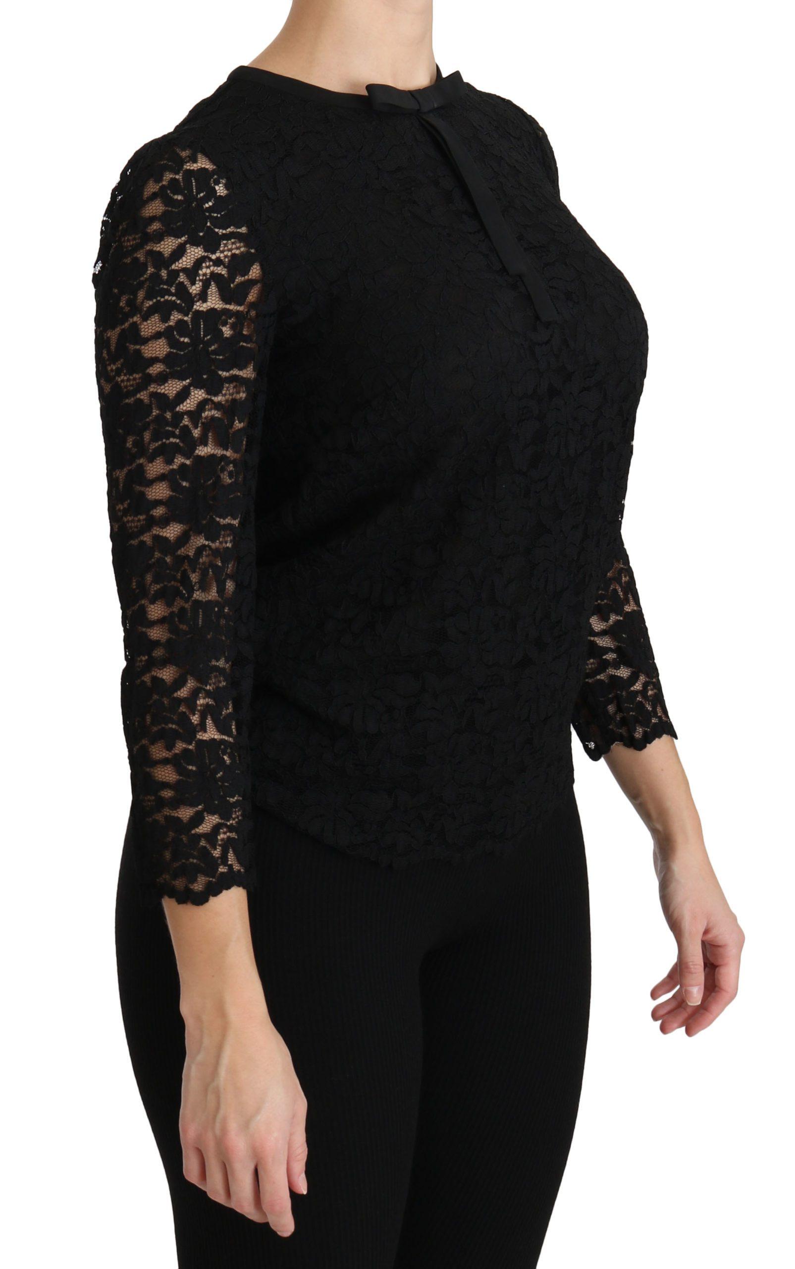 Black Lace Long Sleeve Nylon Blouse - IT44|L
