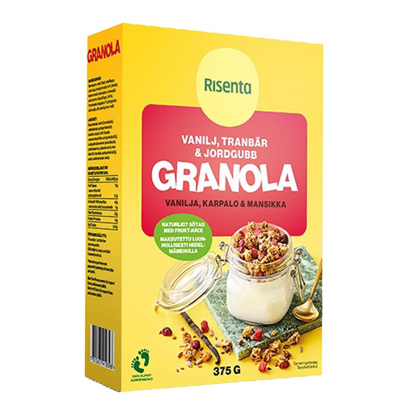 Granola Vanilja Karpalo & Mansikka, 375g - 38% alennus