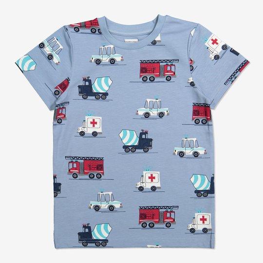 T-skjorte med kjøretøytrykk lysblå