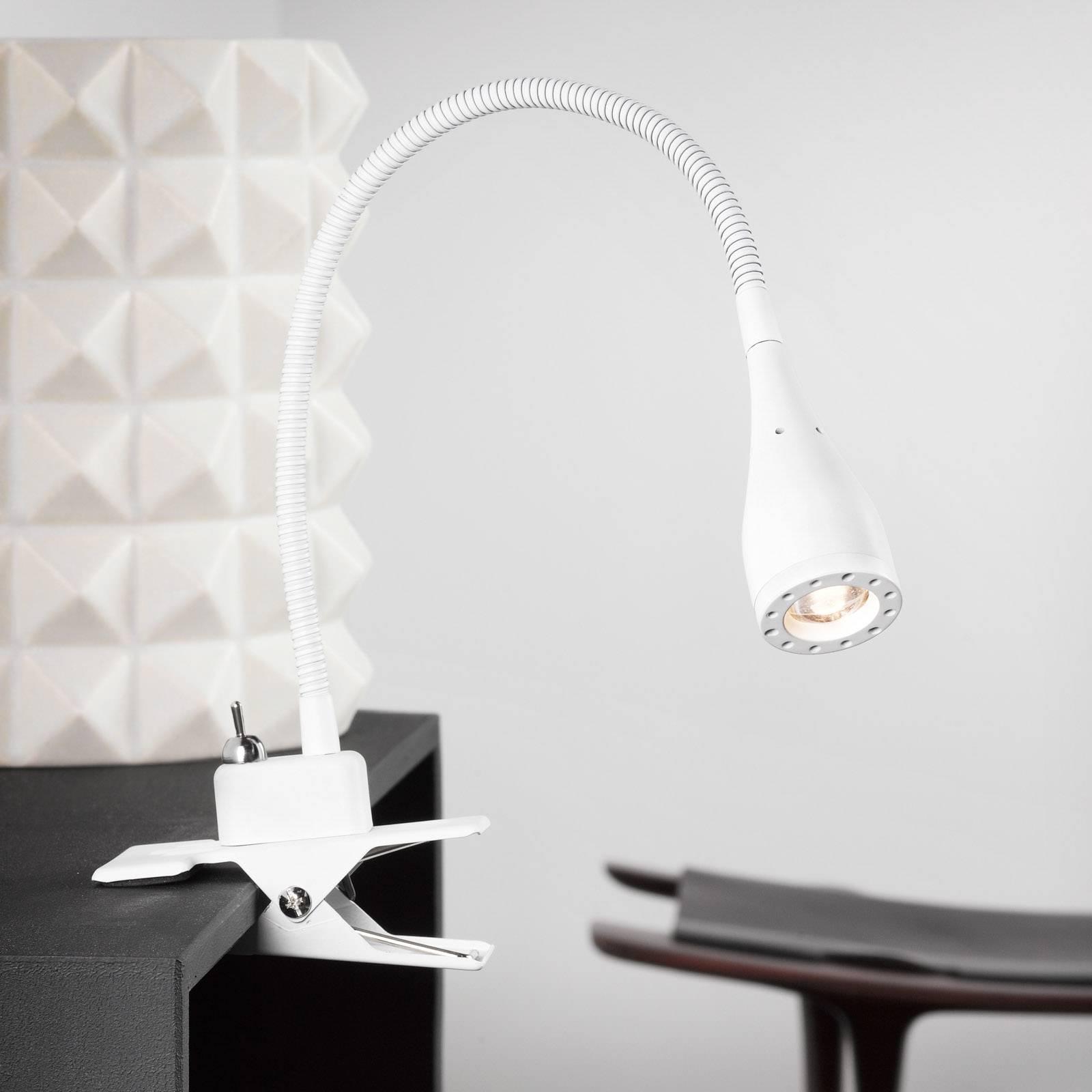 Taipuisa LED-klipsivalaisin Mento, valkoinen