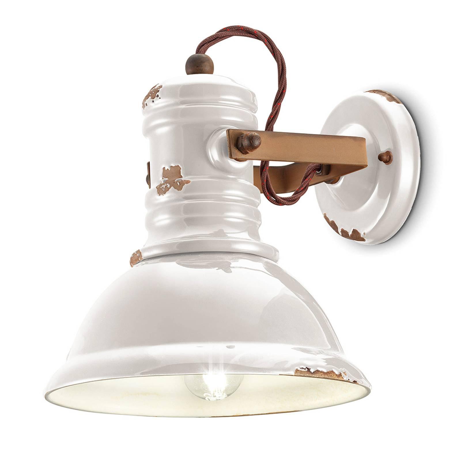 Vegglampe i keramikk C1693 i industriell stil hvit