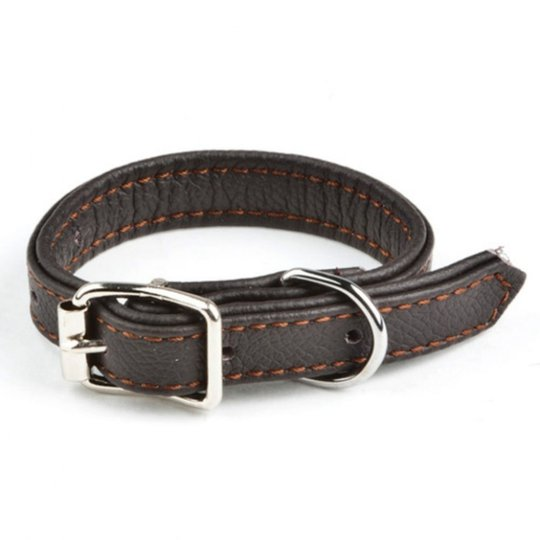 Feel Leather Vadderat Läderhalsband Brun (1,5 x 40 cm)