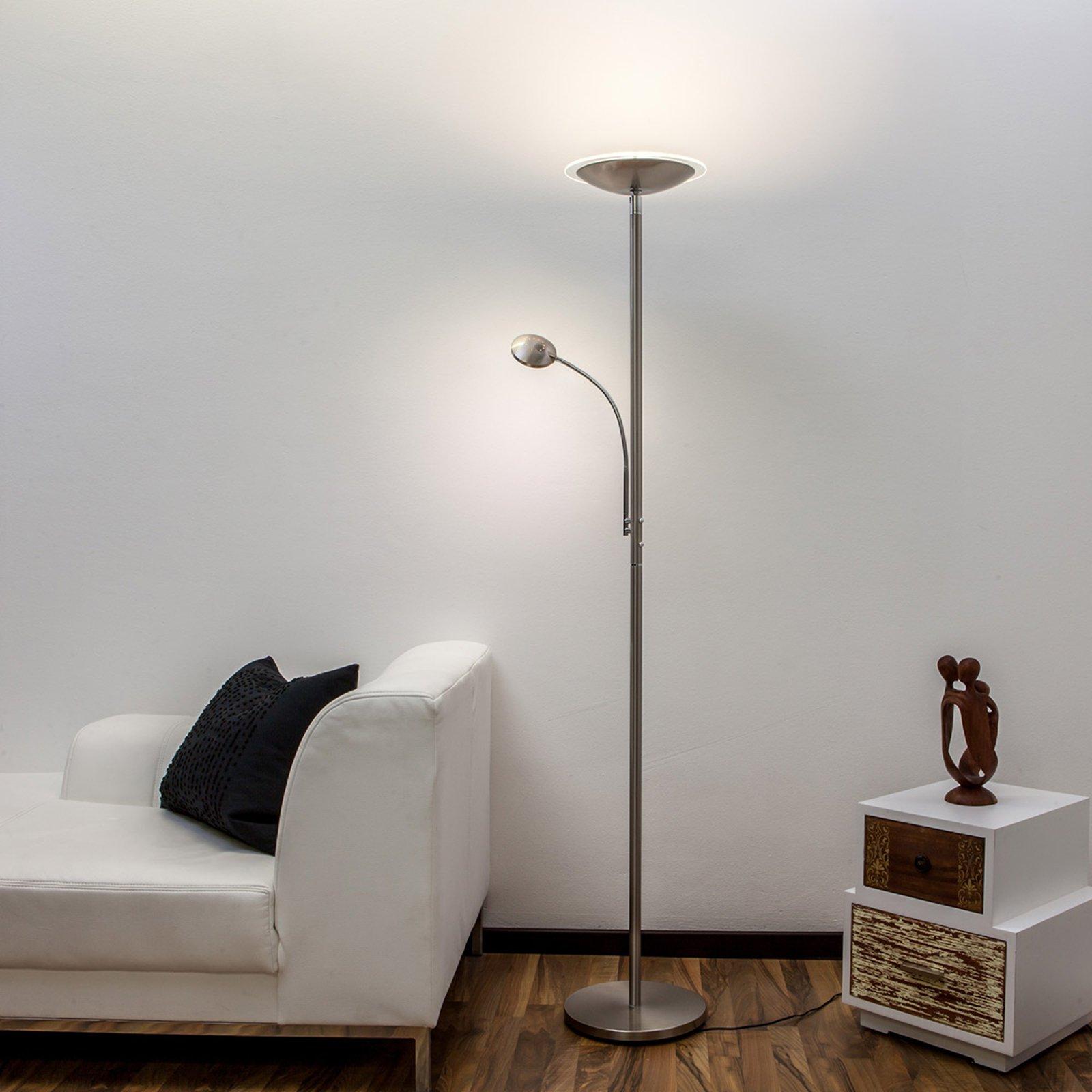Malea - LED-uplight lampe med lesearm, nikkel