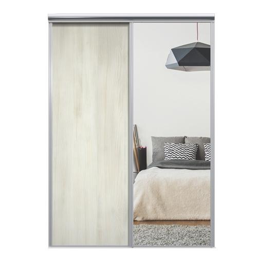 Mix Skyvedør White wood / Sølvspeil 1400 mm 2 dører