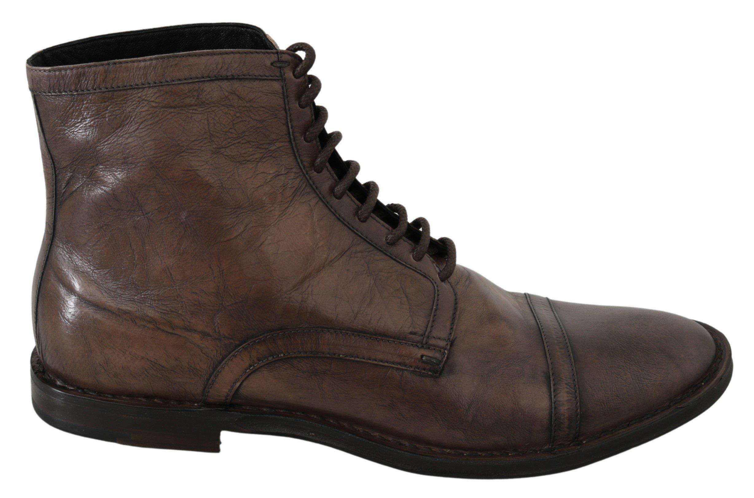 Dolce & Gabbana Men's Patterned Leather Derby Boots Brown MV3059 - EU44/US11