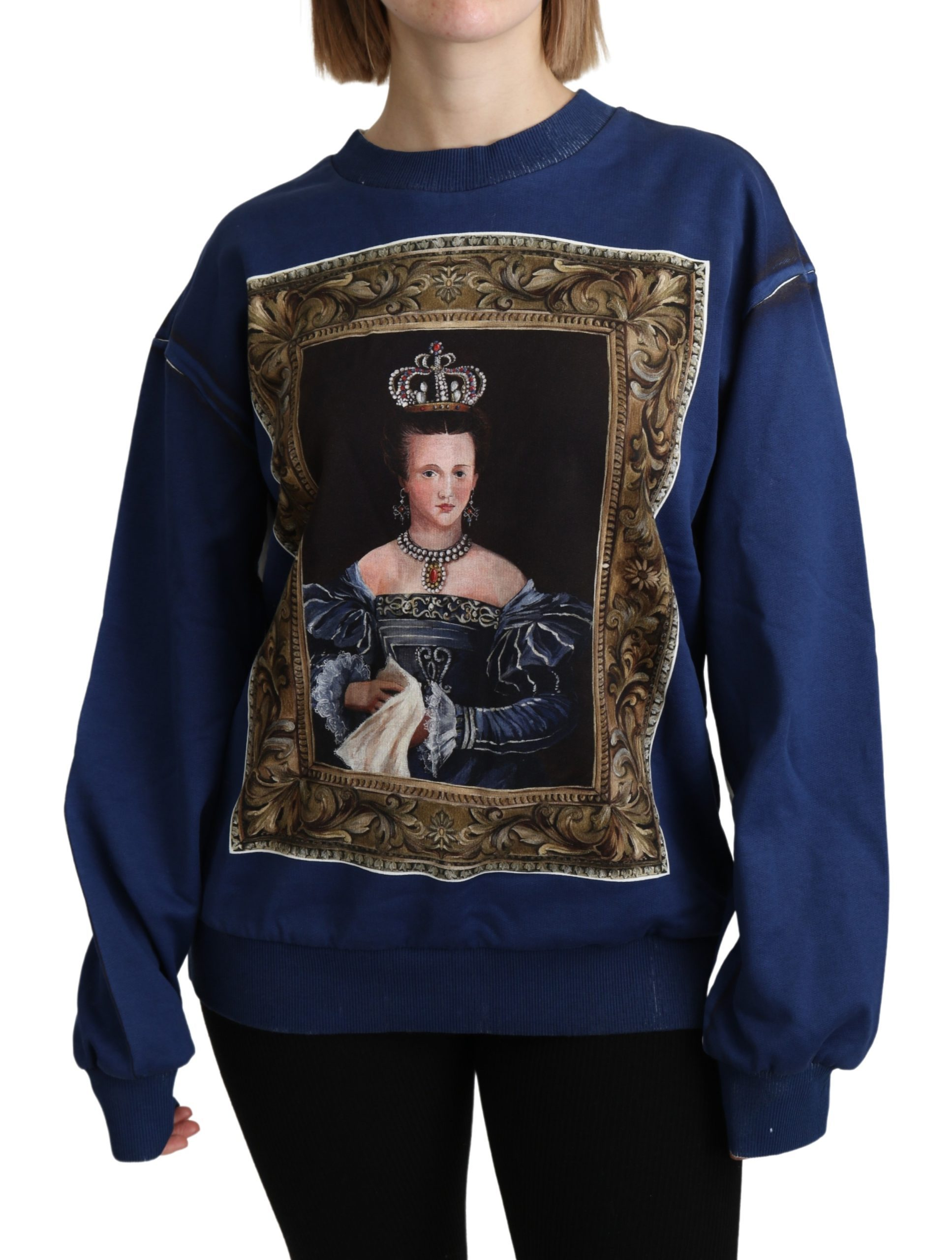 Dolce & Gabbana Women's Printed Long Sleeves Pullover Sweater Blue TSH4803 - IT36   S