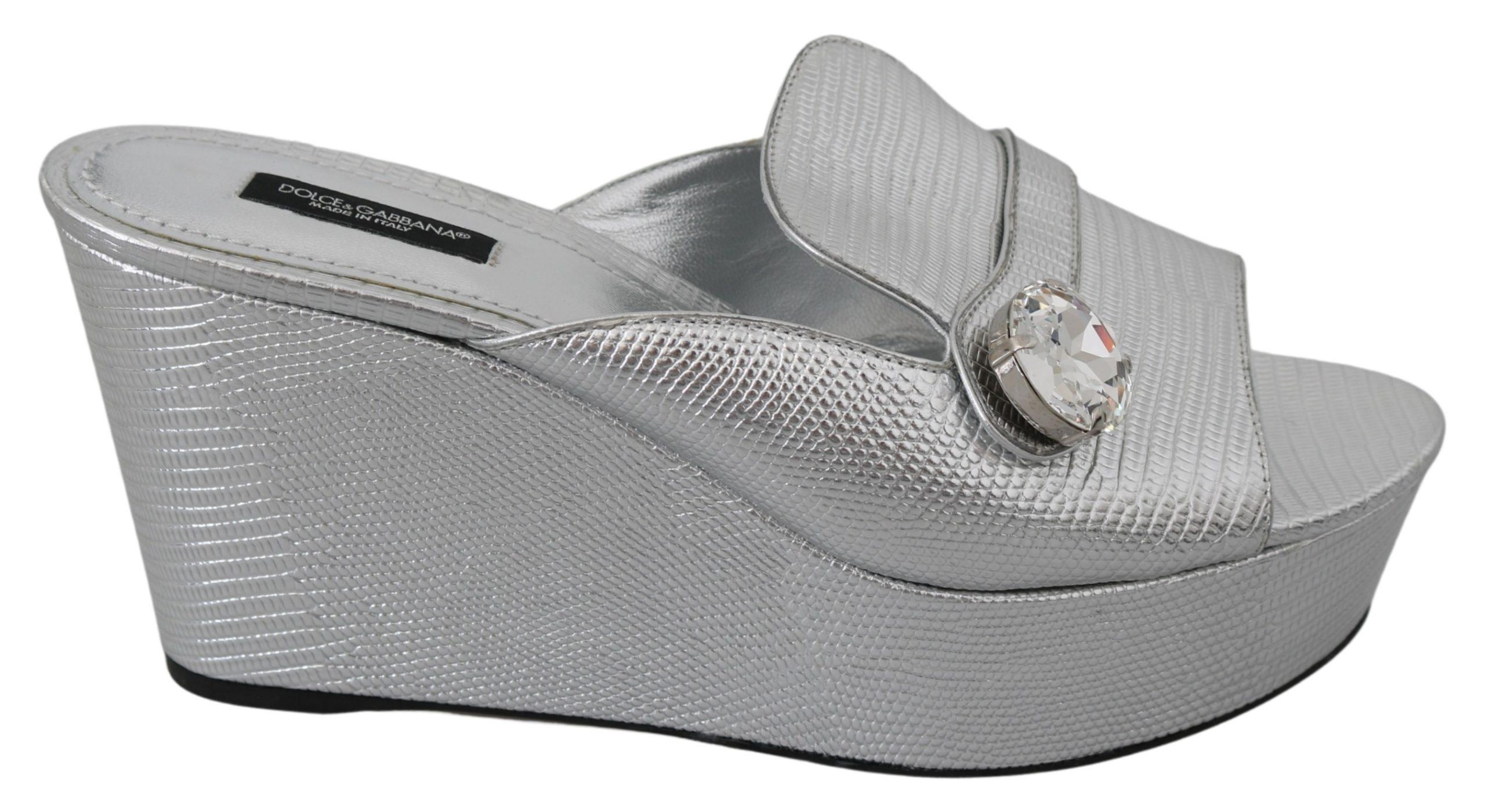Dolce & Gabbana Women's Crystals Platform Slides Sandal Silver LA7317 - EU39/US8.5
