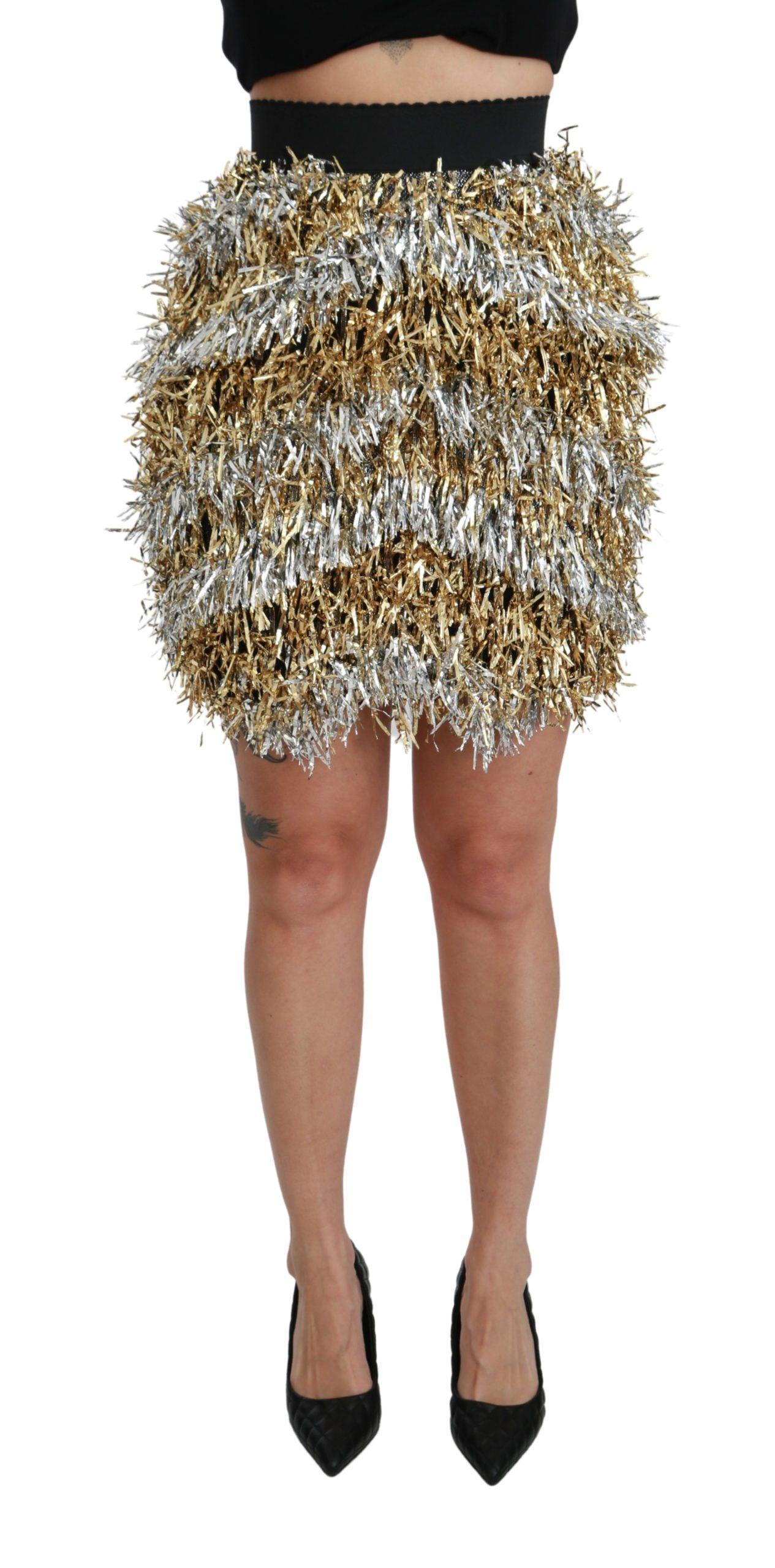 Dolce & Gabbana Women's High Waist Fringe Mini Skirt Multicolor SKI1424 - IT40|S