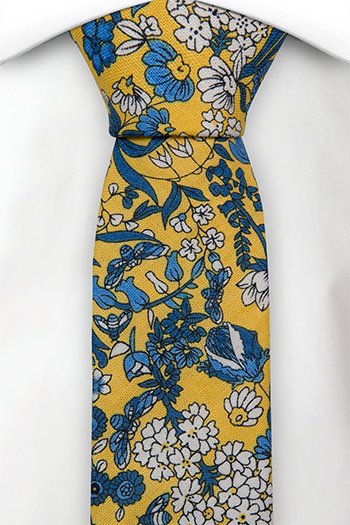 Bomull Smale Slips, Blå og hvite blomster på honninggult, Gull, Blomstrete
