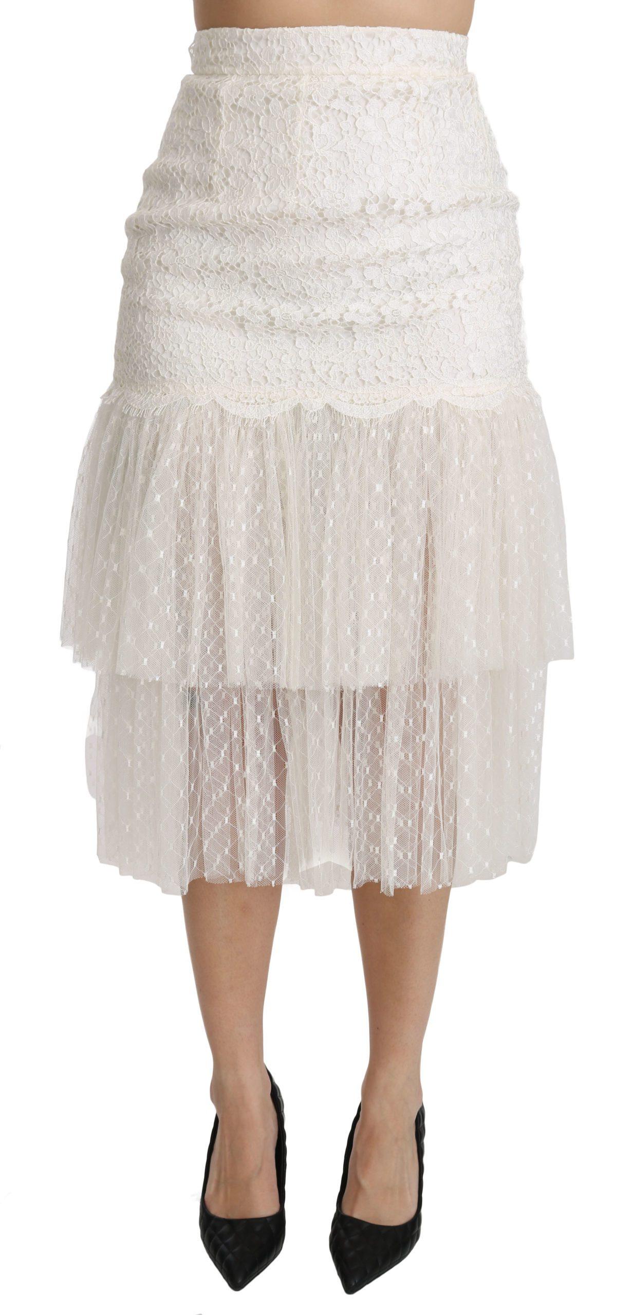 Dolce & Gabbana Women's Lace Layered High Waist Midi Cotton Skirt White SKI1344 - IT40|S