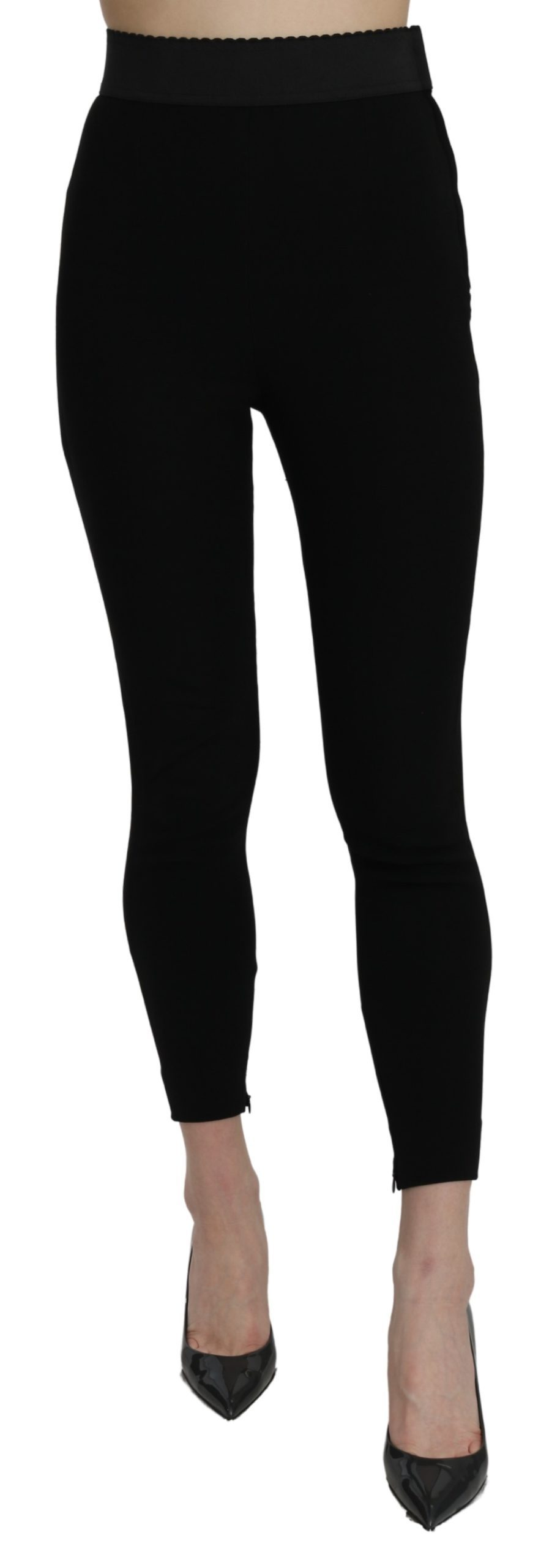Dolce & Gabbana Women's High Waist Cotton Stretch Leggings Black PAN71081 - IT38|XS