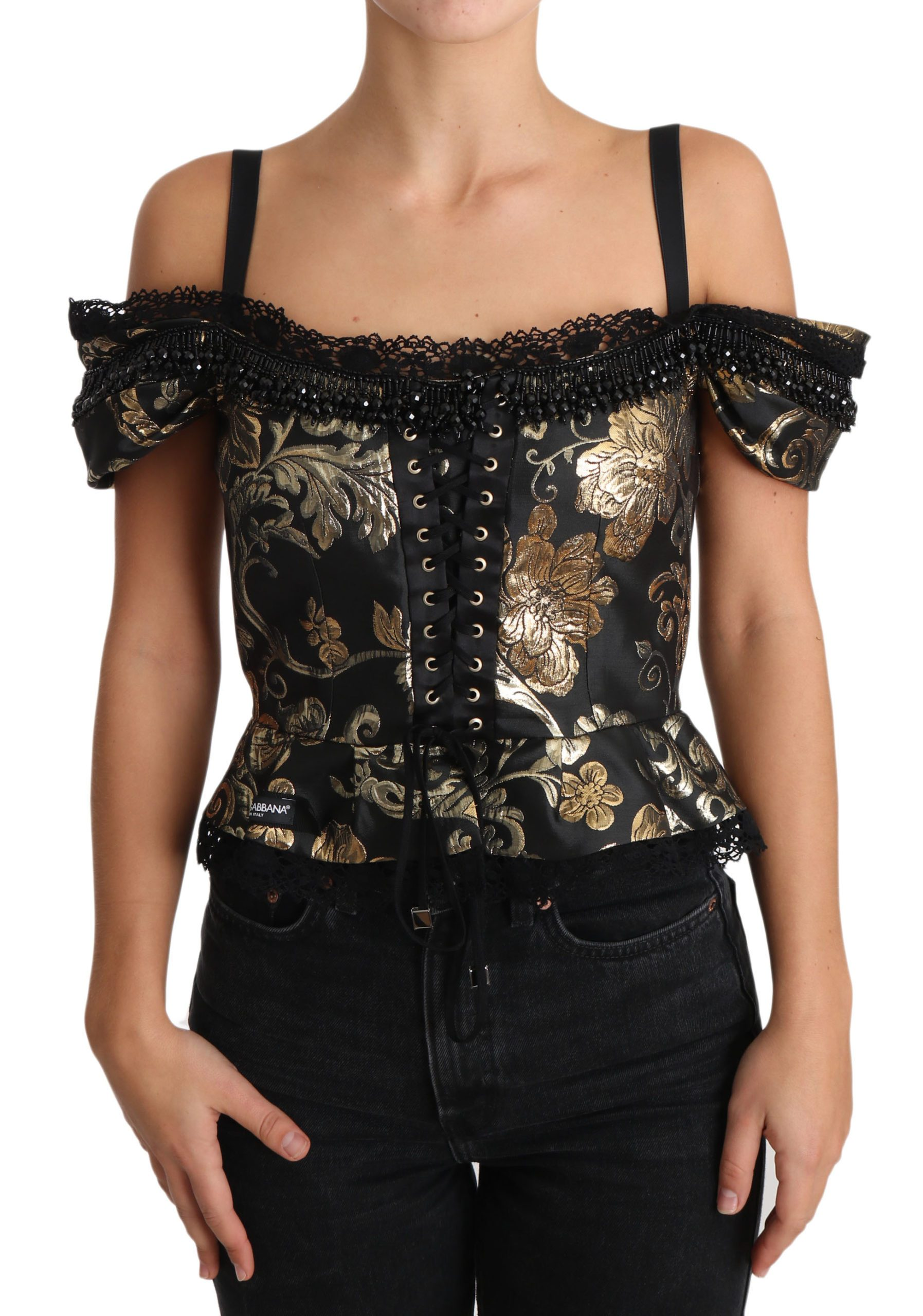 Dolce & Gabbana Women's Floral Jacquard Crystal Top Black TSH3381 - IT36 | XS