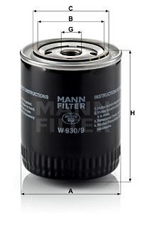 Öljynsuodatin MANN-FILTER W 930/9