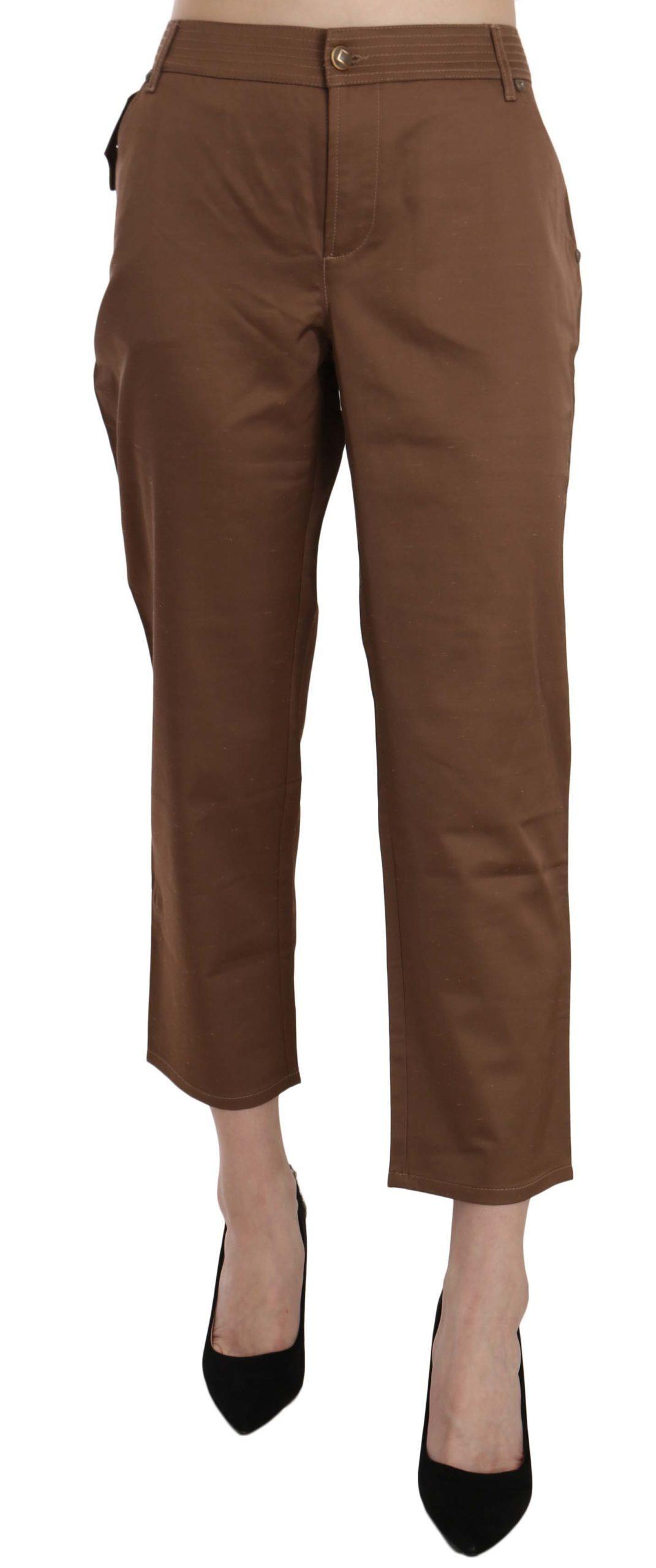 Roberto Cavalli Women's Viscose High Waist Crop Trouser Brown PAN70374 - W26