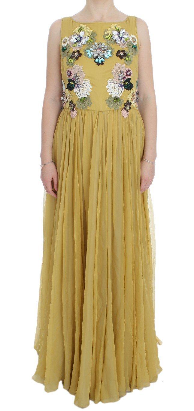 Dolce & Gabbana Women's Silk Crystal Applique Shift Dress Yellow DRE10037 - IT46|XL