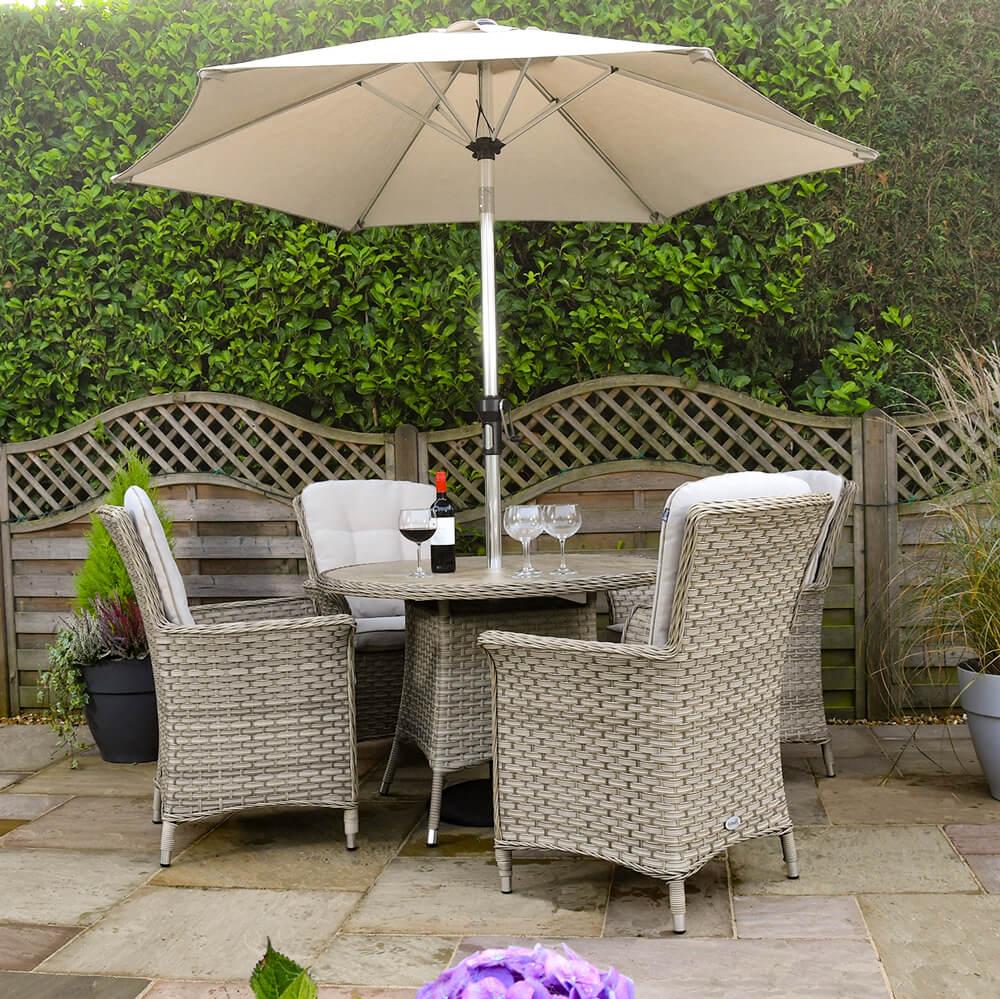 2021 Hartman Heritage Tuscan 4 Seat Ceramic Glass Round Garden Dining Set With Parasol - Beech/Dove