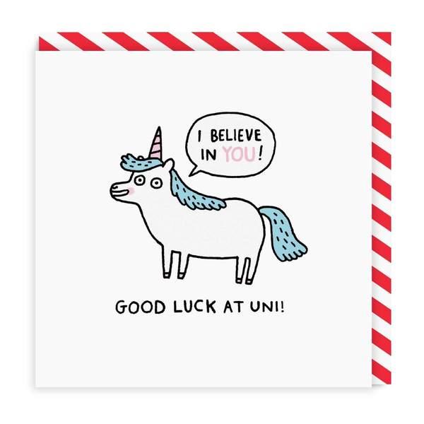 Good Luck At Uni Unicorn Square Greeting Card