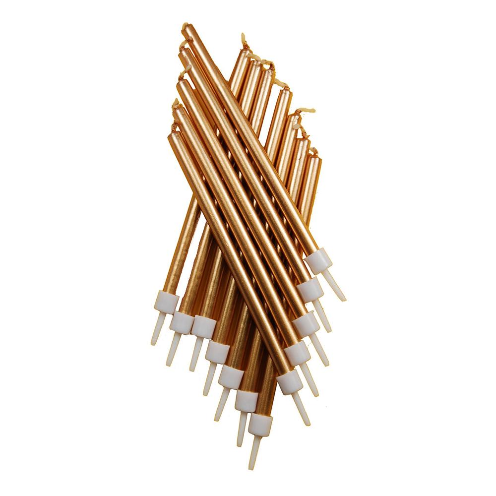 Tårtljus Långa Metallic Guld - 12-pack
