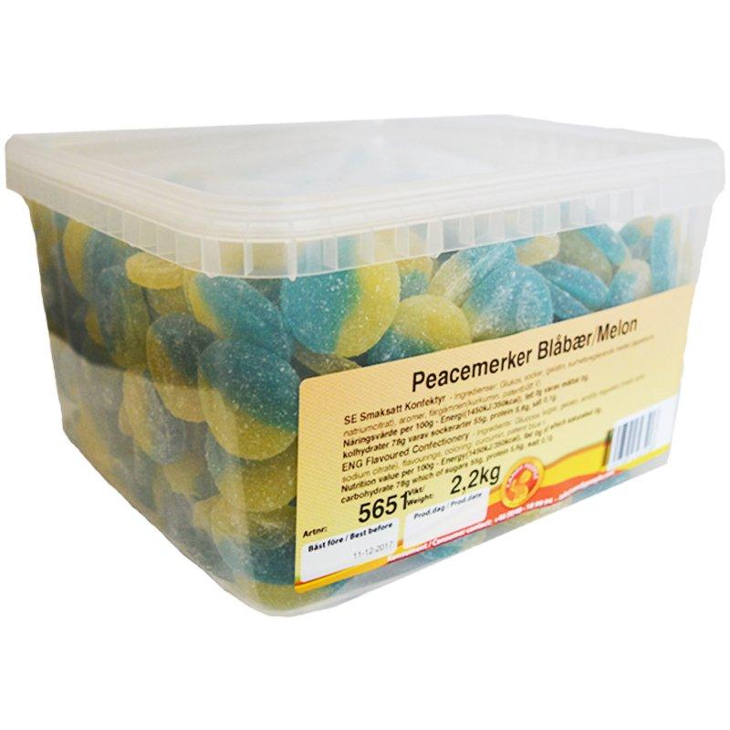 Hel Låda Godis Blåbär Melon 2,2kg - 62% rabatt