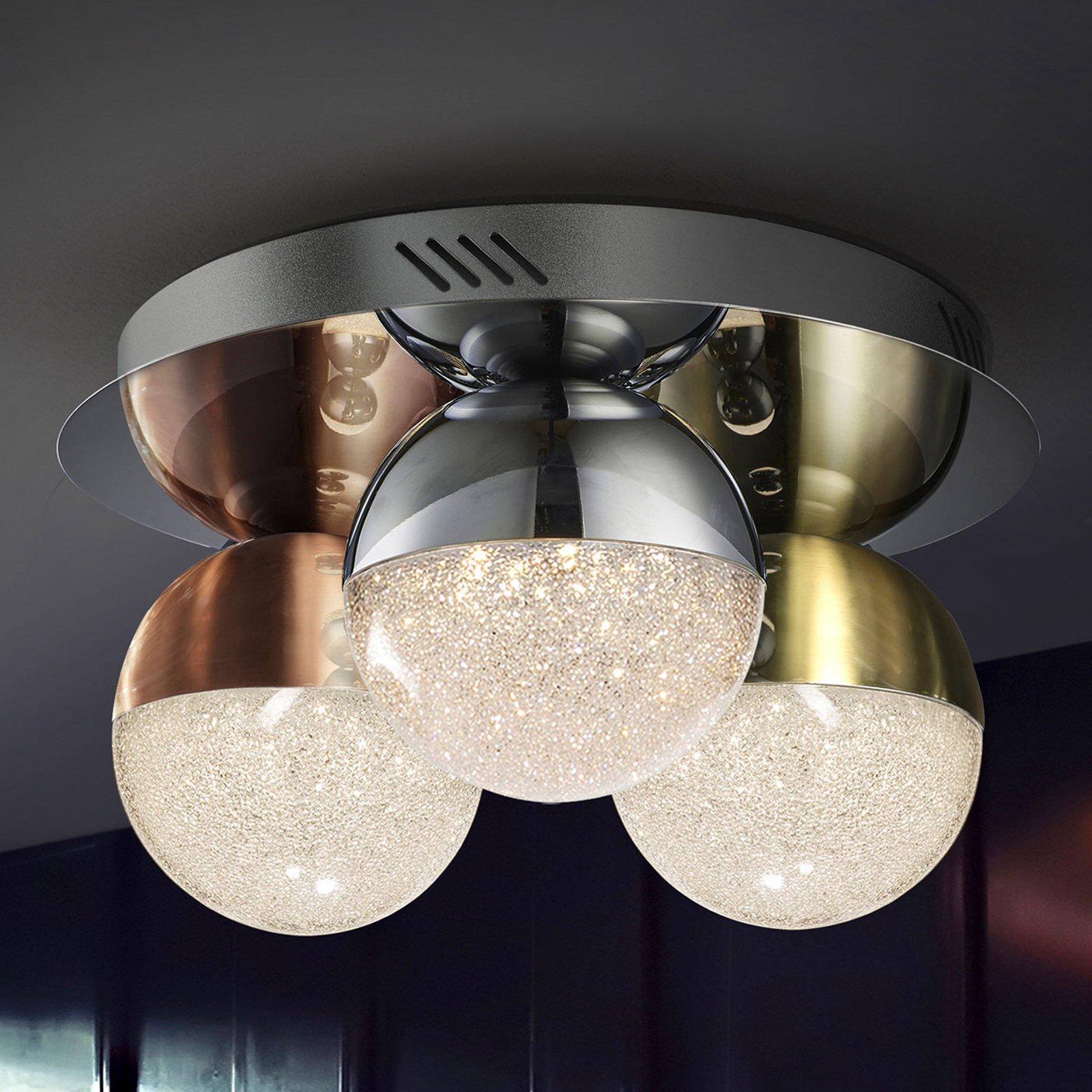 LED-taklampe Sphere, flerfarget, 3 lyskilder