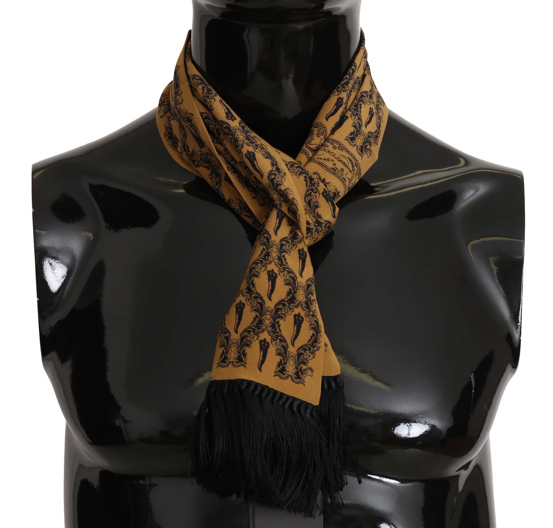 Dolce & Gabbana Men's Printed Tassel Silk Wrap Scarf Yellow MS5130