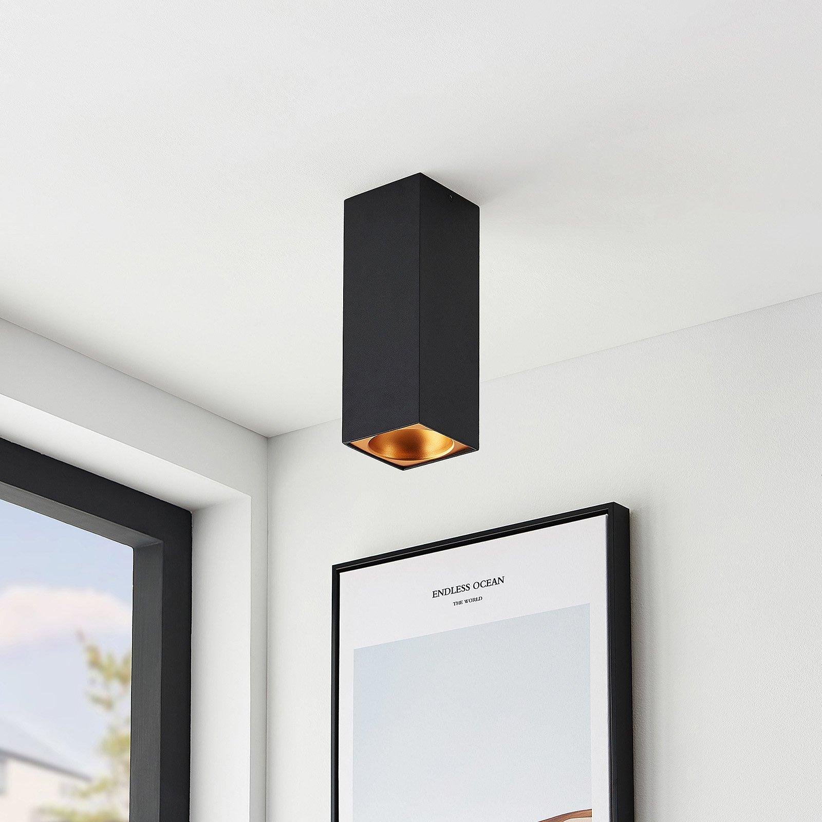 Arcchio Hinka taklampe, kantet 25,4 cm svart