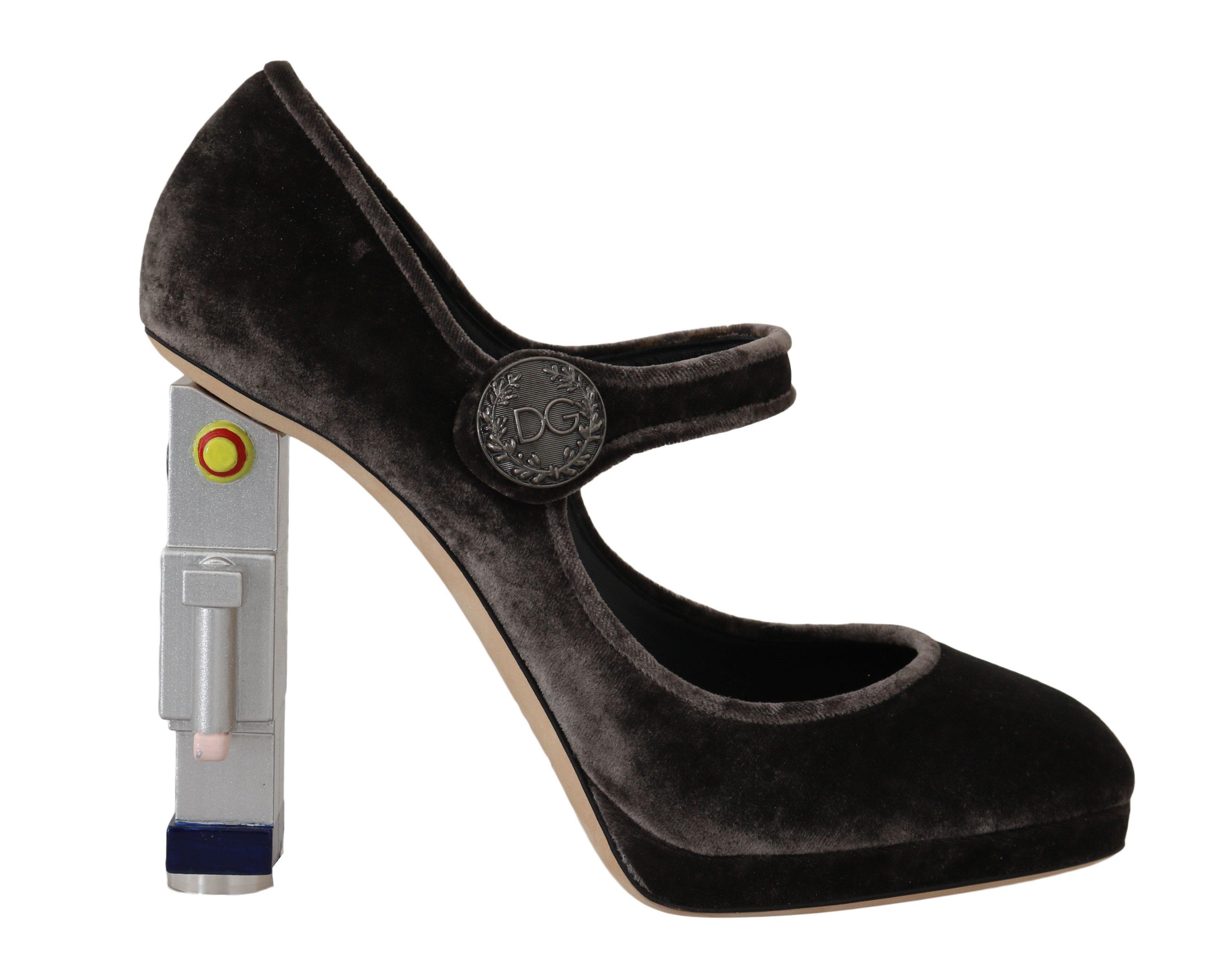Dolce & Gabbana Women's Velvet Robot Mary Janes Heels Gray LA4540 - EU40/US9.5