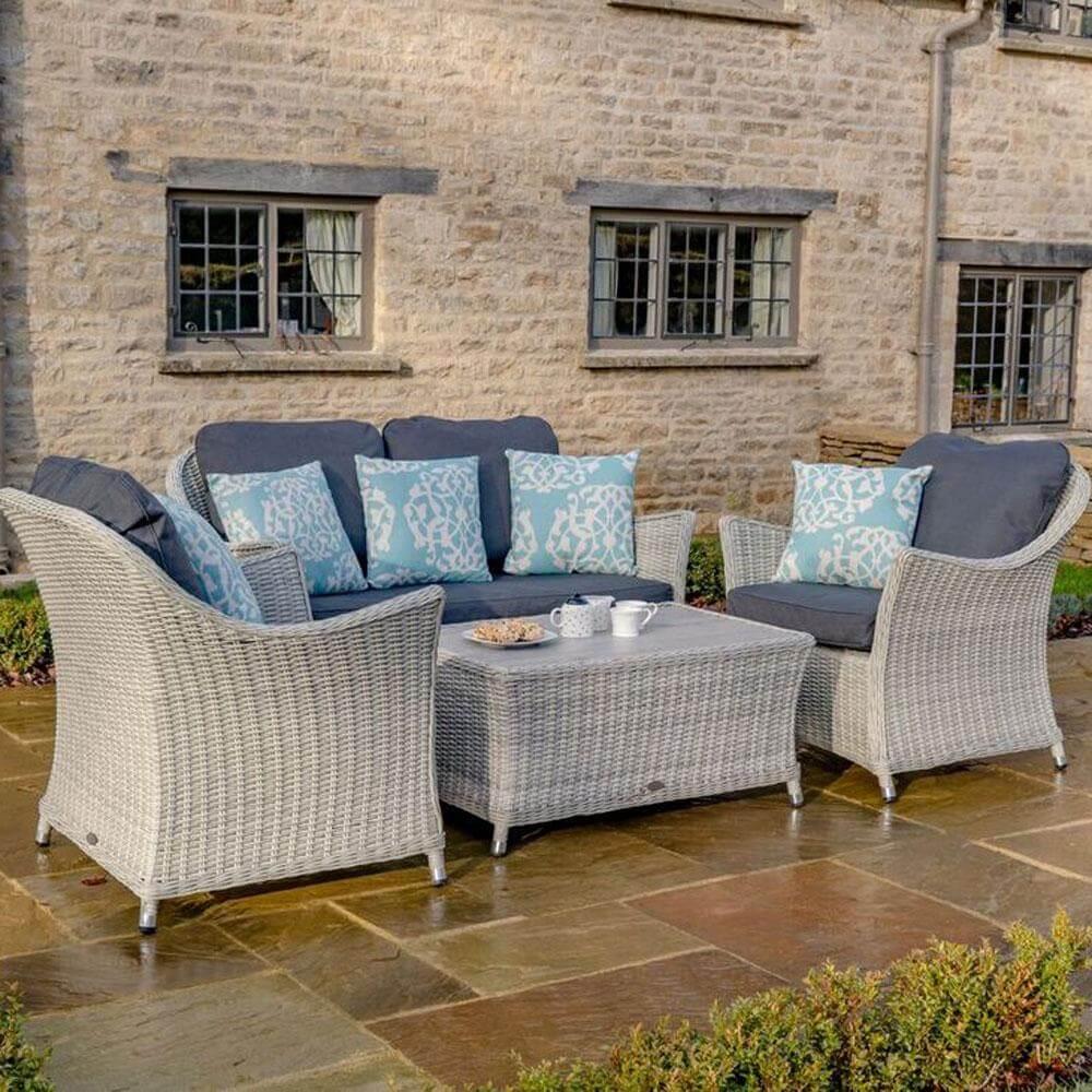 2021 Bramblecrest Monterey 2 Seater Outdoor Sofa Set With Ceramic Coffee Table - Dove Grey