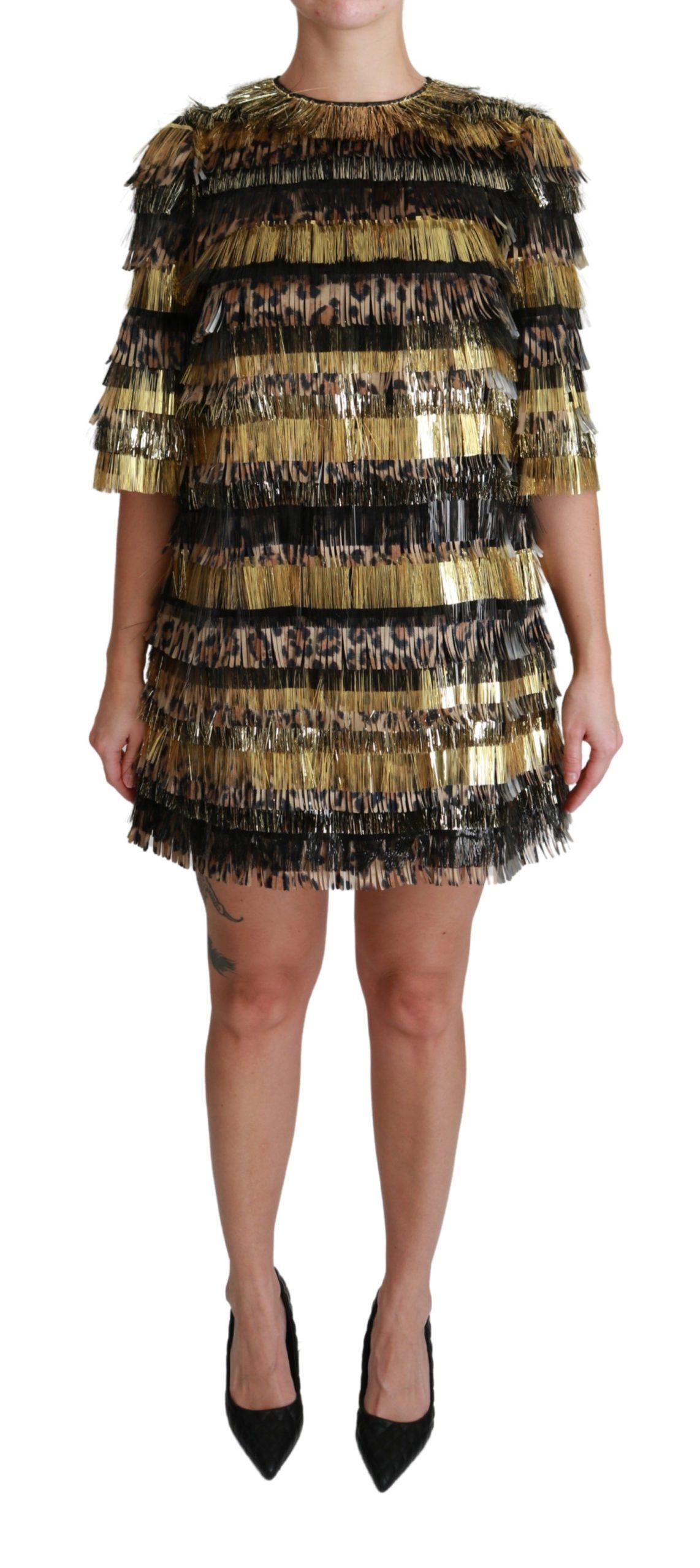 Dolce & Gabbana Women's Leopard Shift Mini Dress Black DR2508 - IT40|S