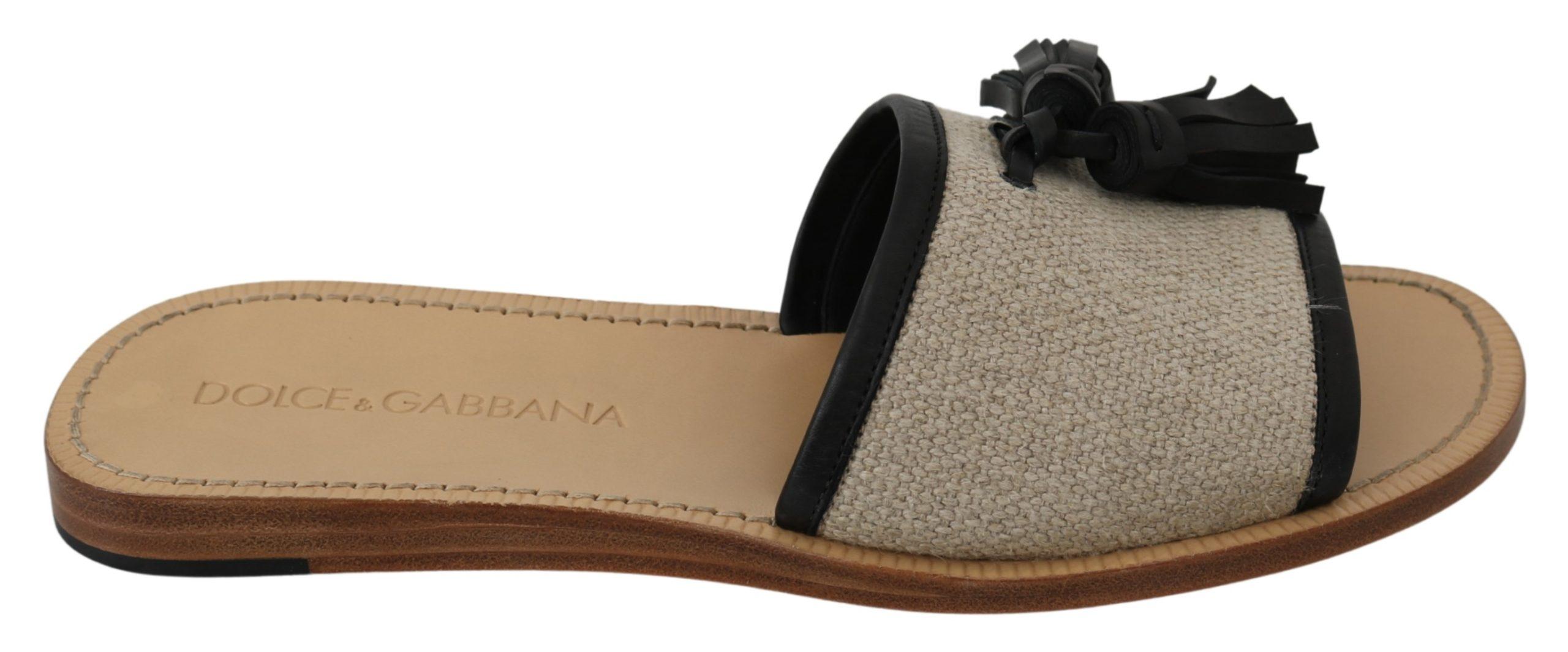 Dolce & Gabbana Men's Leather Linen Open Toe Sandal Beige MV3024 - EU43/US10