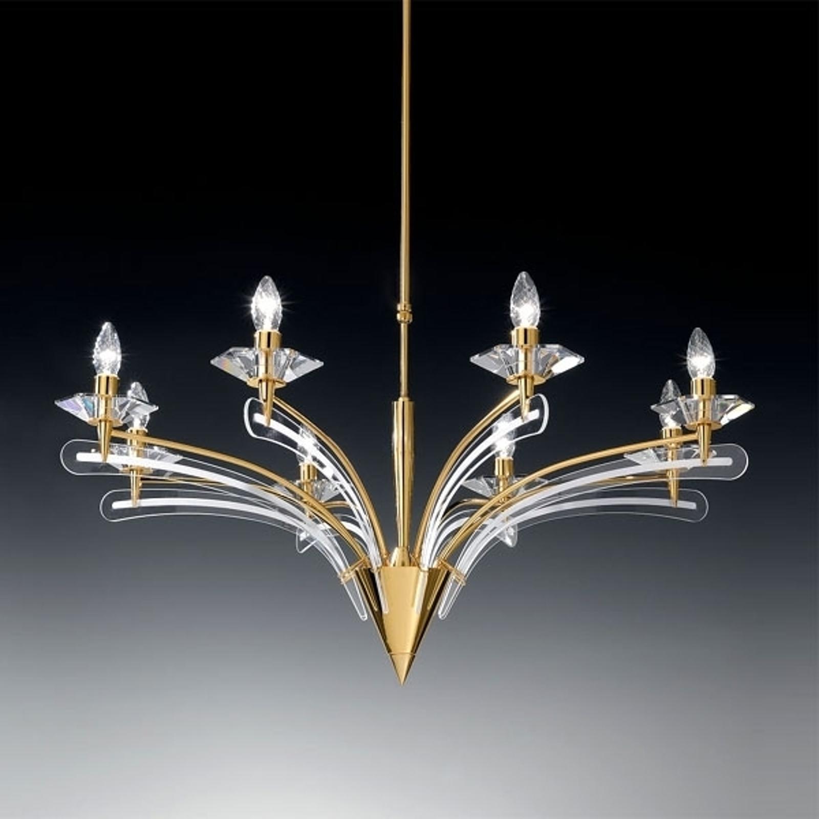 Kattokruunu ICARO, kristallilasi, 8 lamppua, kulta