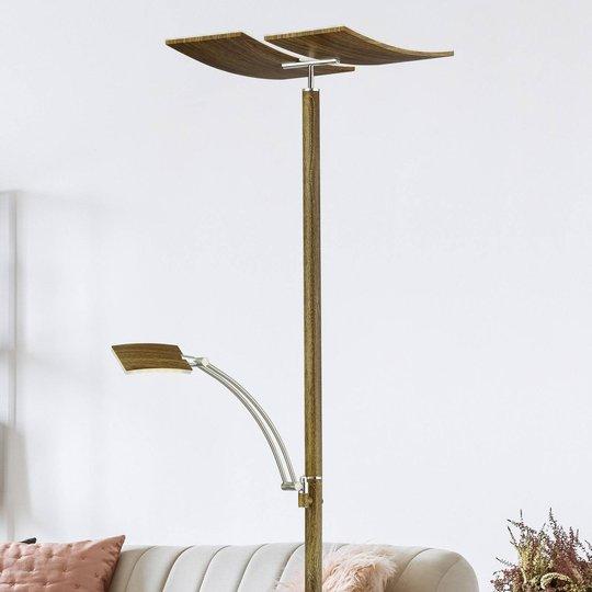 Himmennettävä LED-lattialamppu Duo puunvär. maal.