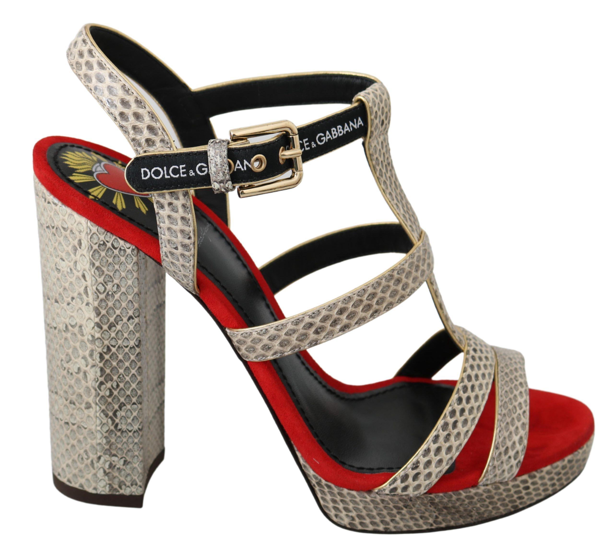 Dolce & Gabbana Women's Ayers Leather Heels Sandals Shoes Beige LA6575 - EU35/US4.5