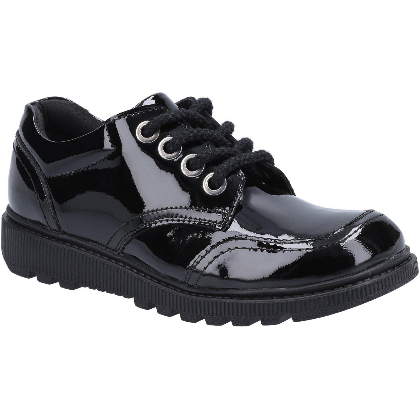 Hush Puppies Kid's Kiera Junior Patent School Shoe Black 30823 - Patent Black 10