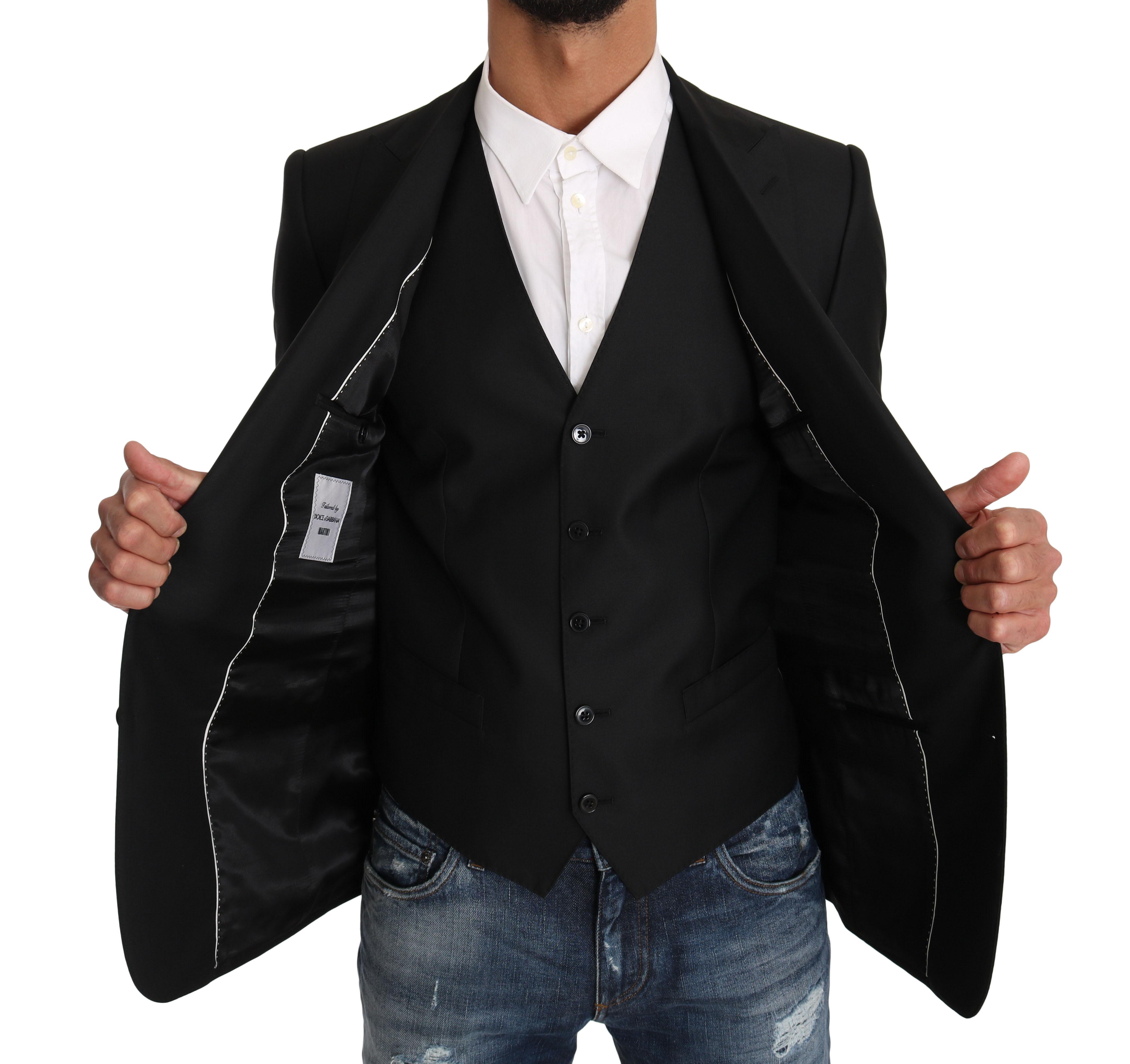 Dolce & Gabbana Men's Vest 2 Piece Wool MARTINI Blazer Black KOS1197 - IT46 | S