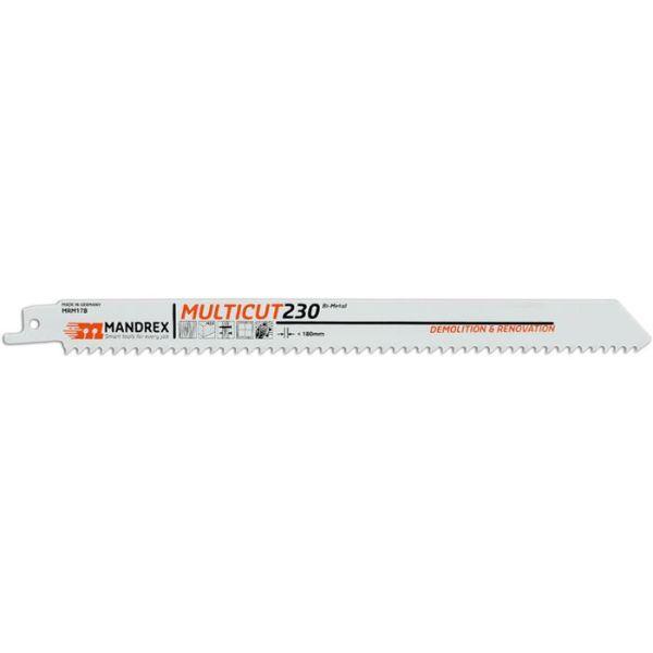 Mandrex MULTICUT Puukkosahanterä 230 mm, purku- ja kunnostustöihin