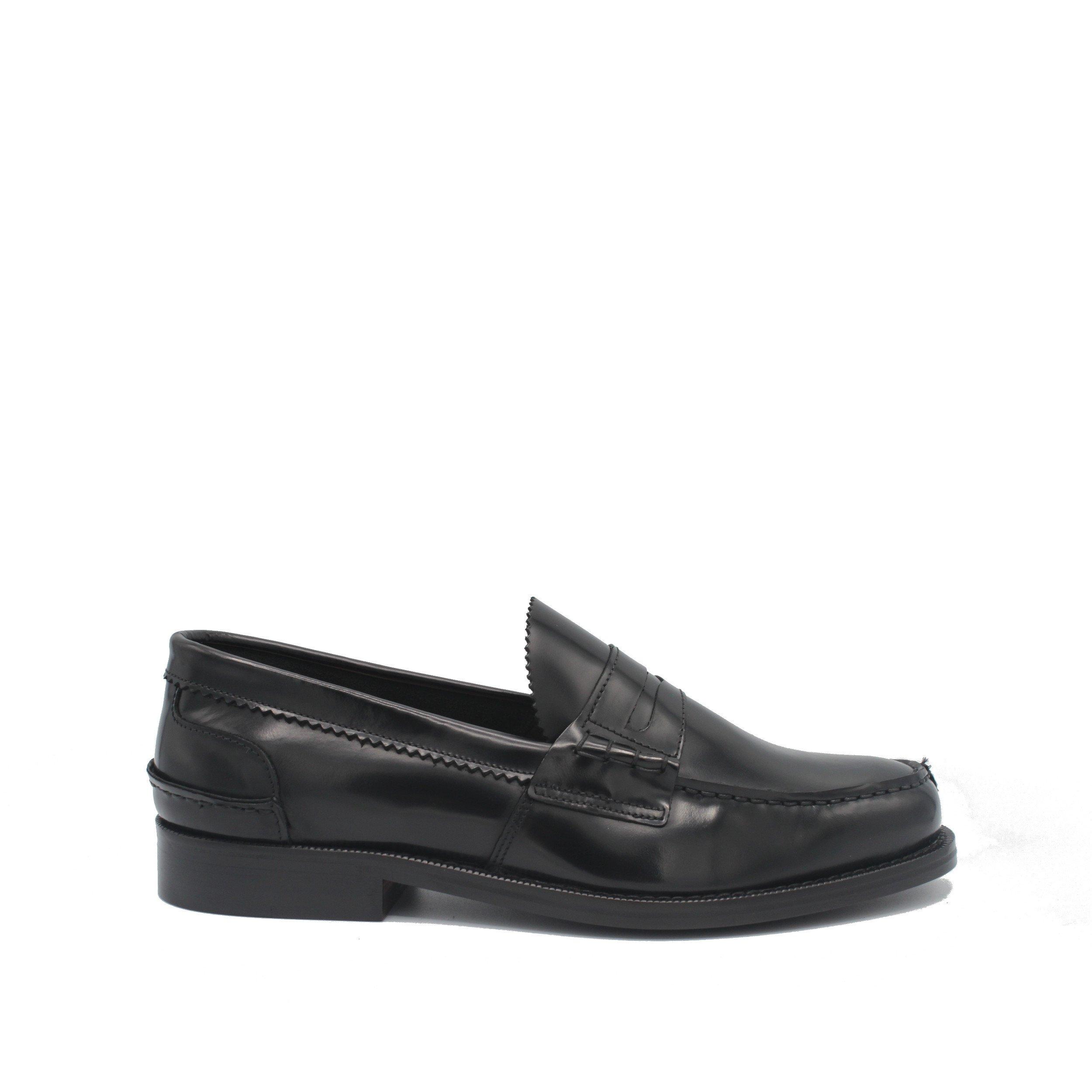 Saxone of Scotland Men's Spazzolato Leather Loafer Black 1000_Black - EU45/US12