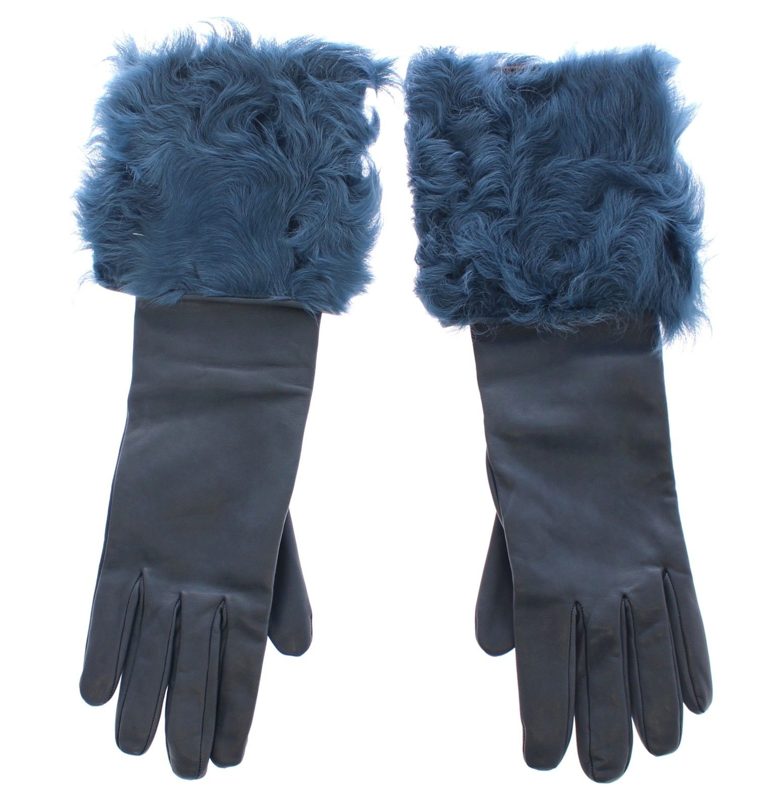 Dolce & Gabbana Women's Lambskin Leather Fur Logo Wrist Gloves Blue MOM11431 - 6.5 | XS