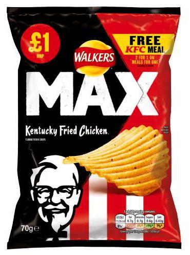 Walkers Max Kentucky Fried Chicken Chips 70g