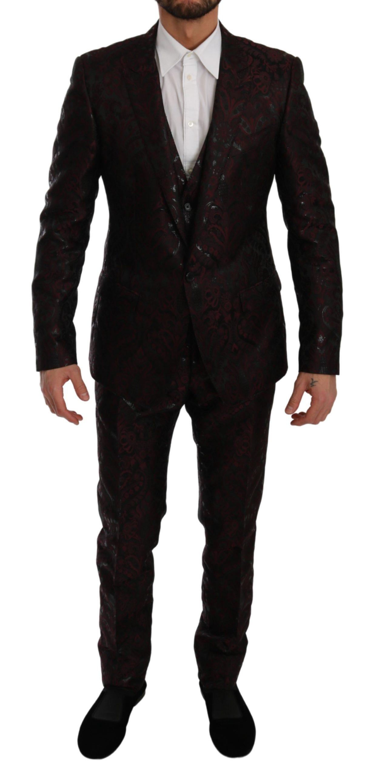Dolce & Gabbana Men's Brocade 3 Piece Formal MARTINI Suit Bordeaux KOS1785 - IT50   L