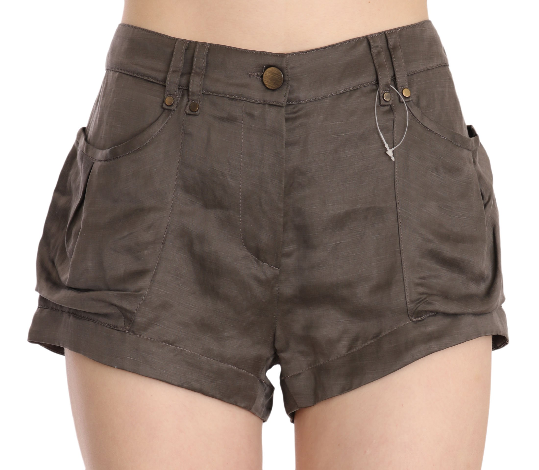 PLEIN SUD Women's Mid Waist Linen Micro Mini Shorts Brown - IT40|S