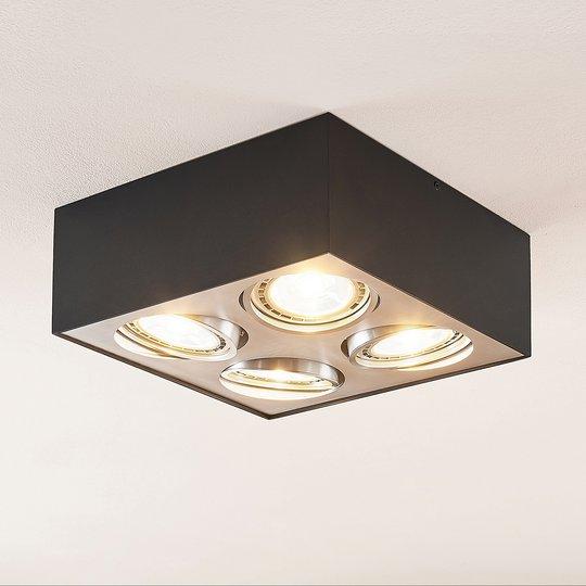 Arcchio Dwight -LED-kattovalo, musta 4-lamp.