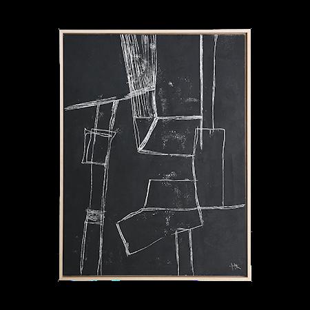 Framed Brutalism Painting Black 60x80 cm