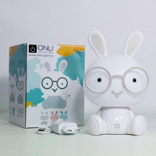 Bunny LED-bordlampe til barnerom, hvit