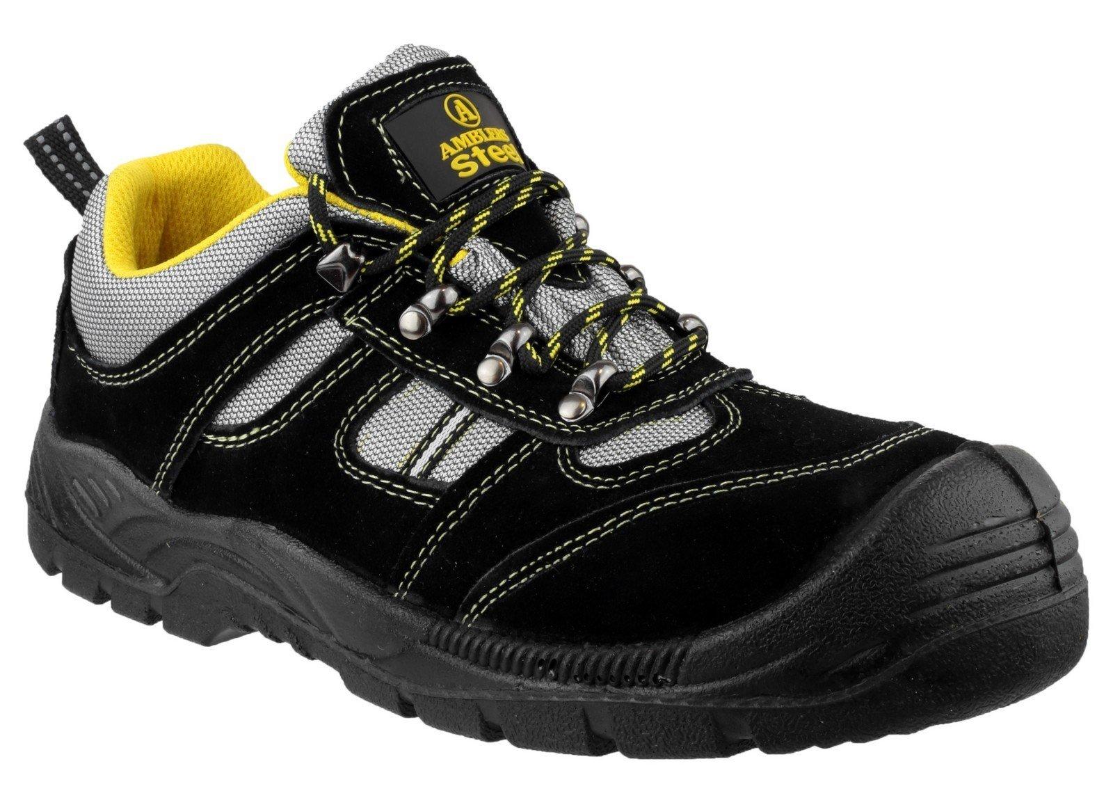 Amblers Unisex Safety Lightweight Lace up Trainer Black - Black 3