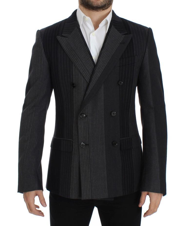 Dolce & Gabbana Men's striped wool stretch Blazer Gray SIG12232 - IT48 | M